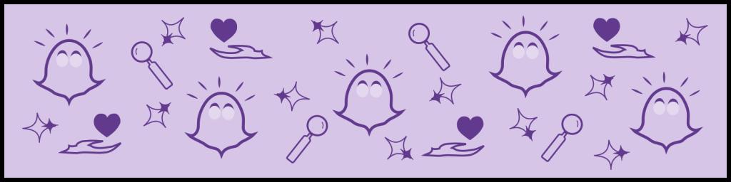 Entzückte Klopfgeister, Lupen, Sterne und Hände mit Herz | Klopfecke - Texte mit Geist | Service