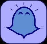 Kleiner blauer Klopfgeist mit freudigem Ausdruck | Klopfecke - Texte mit Geist