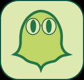 Kleiner grüner Klopfgeist mit Brille | Klopfecke - Texte mit Geist