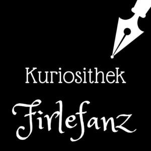 Weiße Schrift und Schreibfeder-Icon auf schwarzem Hintergrund: Kuriosithek - Firlefanz | Klopfecke - Texte mit Geist