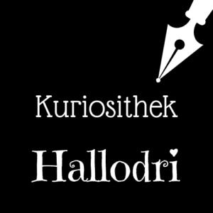 Weiße Schrift und Schreibfeder-Icon auf schwarzem Hintergrund: Kuriosithek - Hallodri | Klopfecke - Texte mit Geist