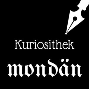 Weiße Schrift und Schreibfeder-Icon auf schwarzem Hintergrund: Kuriosithek - mondän | Klopfecke - Texte mit Geist
