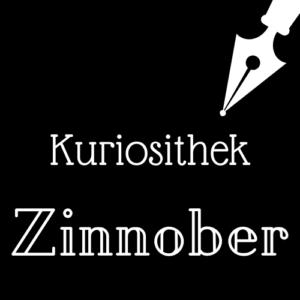 Weiße Schrift und Schreibfeder-Icon auf schwarzem Hintergrund: Kuriosithek - Zinnober | Klopfecke - Texte mit Geist
